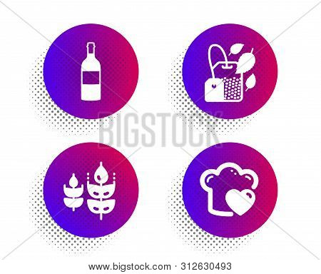 Gluten Free, Mint Bag And Wine Bottle Icons Simple Set. Halftone Dots Button. Love Cooking Sign. Bio