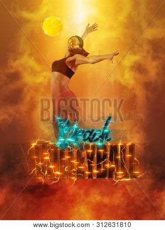 Volleyball beach poster. Woman volleyball beach player in action on smoke background