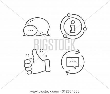 Update Comments Line Icon. Chat Bubble, Info Sign Elements. Chat Speech Bubble Sign. Communication S