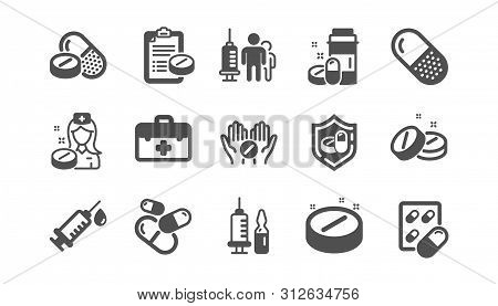 Medical Drugs Icons. Healthcare, Prescription And Pill Signs. Pharmacy Drugs, Recipe Pill Icons. Ant