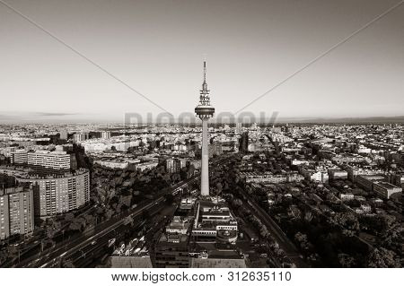 MADRID, SPAIN – MAY 13, 2018: Torrespana or Spain Tower is a television tower for National terrestrial television channels RTVE, Telecinco, Antena 3 and Telemadrid.