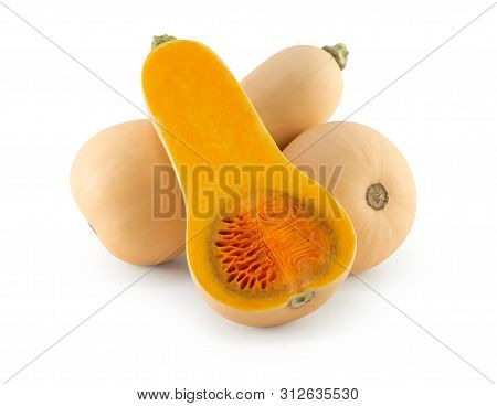 Butternut Squash With Sliced Isolated On White Background, Food Healthy Concept
