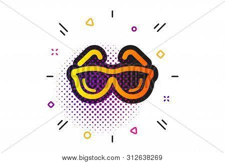 Oculist Clinic Sign. Halftone Circles Pattern. Eyeglasses Icon. Optometry Vision Symbol. Classic Fla
