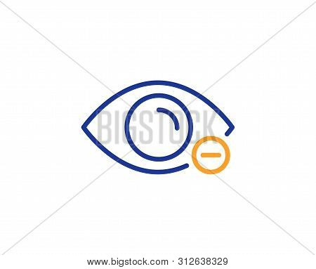 Eye Diopter Sign. Myopia Line Icon. Optometry Vision Symbol. Colorful Outline Concept. Blue And Oran