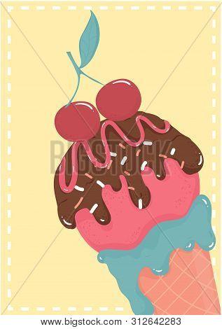 Cute Sweet Chocolate Strawberry Ice Cream Waffle Cone With Cherry Summer Card Vector Ice Cream Cone
