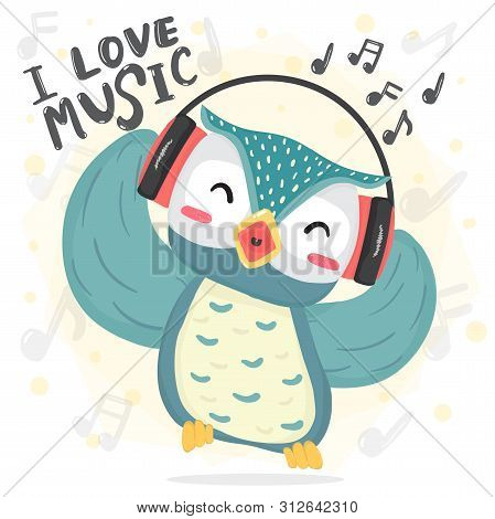 Happy Dance Blue Owl Listen Music And Sing Song With Headphone, Printable Flat Vector Cute Cartoon F