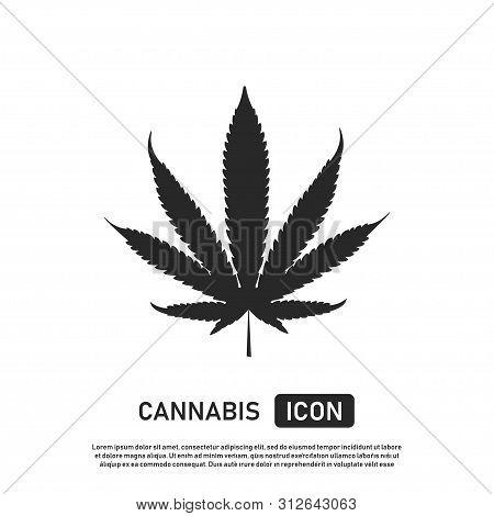 Cannabis Leaf Icon. Marijuana Sign Template. Weed Or Drug. Nature Medicine. Leaf Of Plant.
