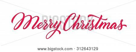 Christmas Hand Drawn Lettering. Xmas Text Isolated On White For Postcard, Poster, Banner Design Elem