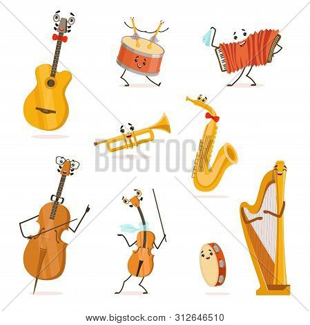 Funny Musical Instruments Cartoon Characters With Funny Faces Set, Cello, Saxophone, Trumpet, Accord