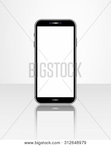 Realistic Smartphone Template With Blank Screen Isolated On Glossy Table. Front View Of Mobile Cellp