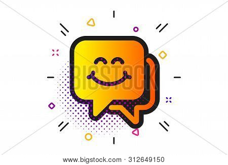 Happy Emoticon Chat Sign. Halftone Circles Pattern. Smile Face Icon. Speech Bubble Symbol. Classic F