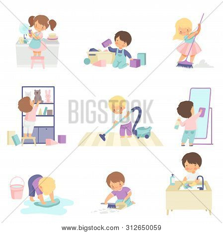 Cute Adorable Kids Doing Housework Chores At Home Set, Cute Little Boys And Girls Washing Floor, Dis