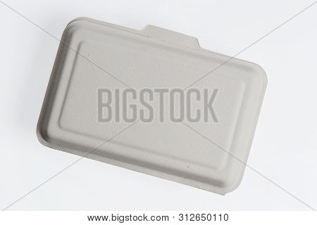 Top View Of Unbleached Plant Fiber Food Box Isolated On White With Clipping Path, Natural Fiber Eco