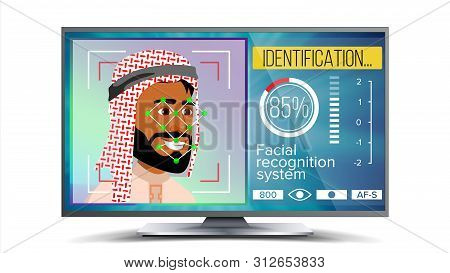 Face Recognition, Identification System . Face Recognition Technology. Arab Face On Screen. Human Fa