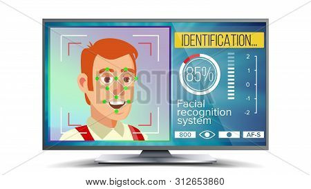 Face Recognition And Identification . Face Recognition Technology. Face On Screen. Human Face With P