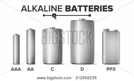 Alkaline Batteries Mock Up Set . Different Types AAA, AA, C, D, PP3, 9 Volt. Standard Modern Realistic Battery. Metal Clean Empty Template. Isolated Illustration poster