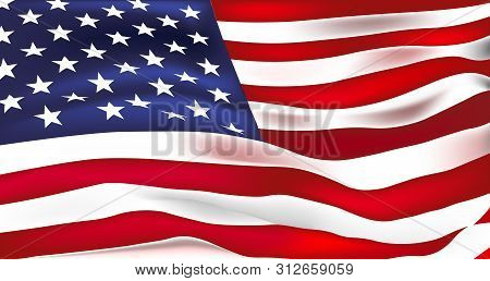 Vector Flag Of United States Of America. Waving Flag Of Usa, Vector Illustration. Bright Colors