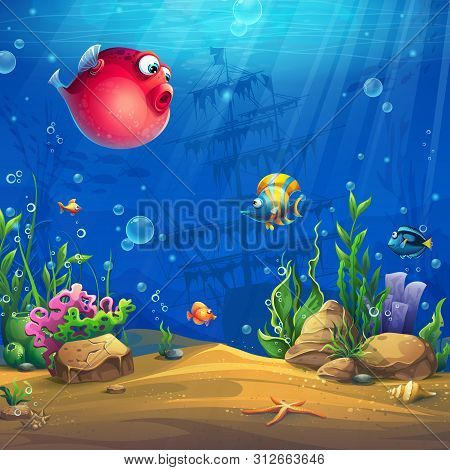 Vector Cartoon Background Illustration Of The Underwater World. Bright Image To Create Original Vide