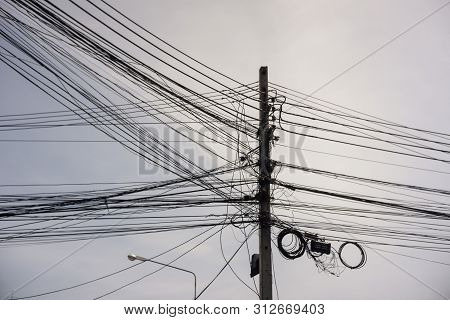 Electricity Poles Tangle Wires In The City
