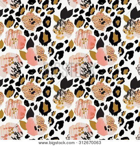 Abstract Floral Seamless Pattern: Flowers With Zebra Stripes, Leopard Skin Print, Watercolor Texture