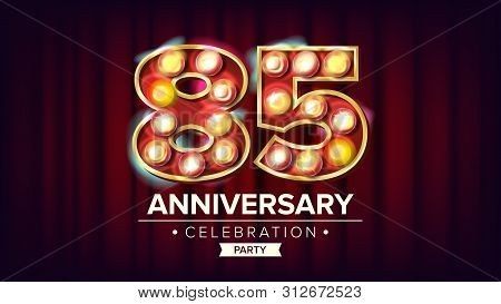 85 Years Anniversary Banner . Eighty-five, Eighty-fifth Celebration. Shining Light Sign Number. For