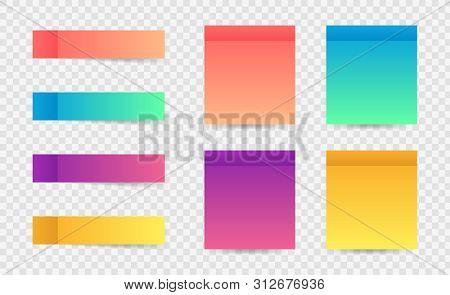 Different Colorful Post Note Stickers, Vector Collection. Sticky Tapes With Shadow Template. Post No