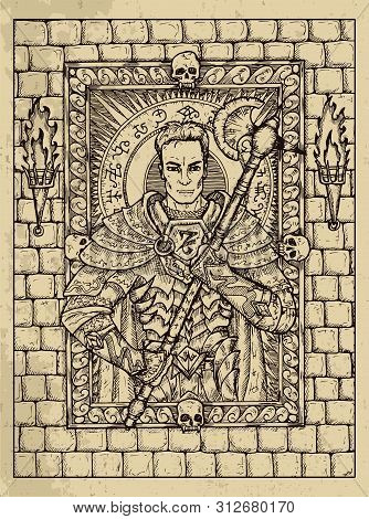 Man. Mystic Concept For Lenormand Oracle Tarot Card. Vector Engraved Illustration. Fantasy Line Art