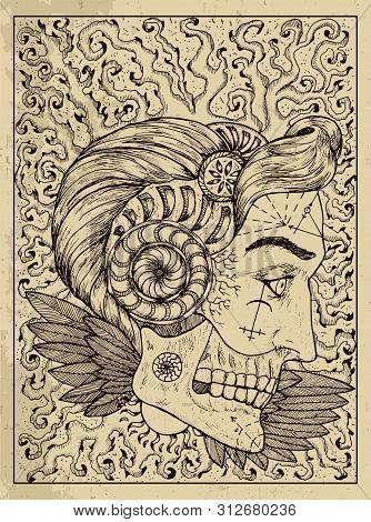 Sun. Mystic Concept For Lenormand Oracle Tarot Card. Vector Engraved Illustration. Fantasy Line Art