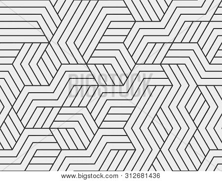 Abstract Stripes, Line Seamless Pattern. Neutral Monochrome Business Background, Black Grey Color. L