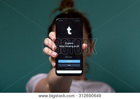 Tula, Russia 17. 06 2019 Tumblr On The Phone Display.