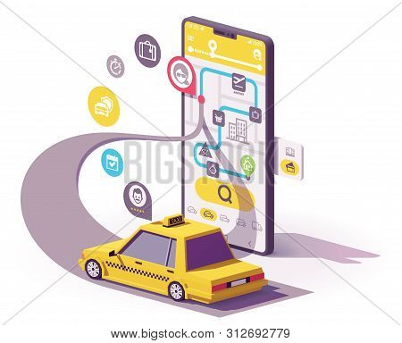 Vector Taxi Mobile App Illustration, Smartphone With Yellow Taxicab, Map On The Screen