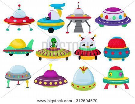 Ufo Vector Spaceship Rocketship And Spacy Rocket Illustration Set Of Spaced Ship Or Spacecraft Flyin