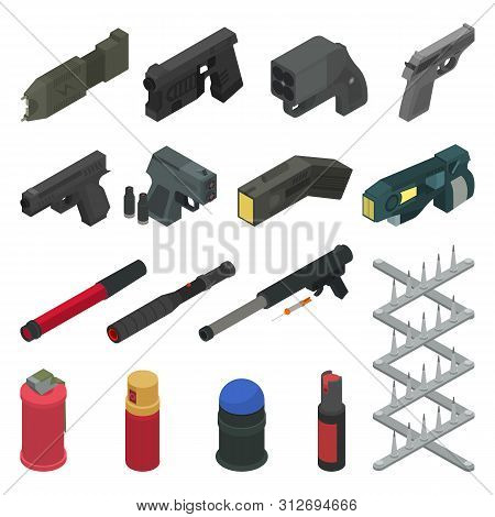 Gun vector handgun shooting weapon pepper spray military firearm illustration army isometric set of weaponry shooter isolated on white background poster