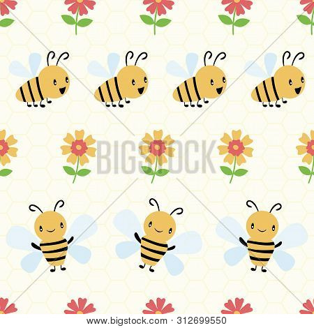 Cute Cartoon Honey Bees And Flowers On Subtle Yellow Honeycomb Background. Seamless Geometric Vector