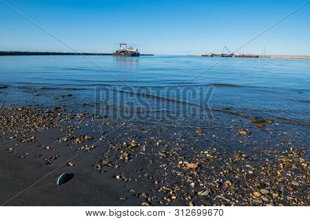 Nome, Alaska - June 9: The Port Of Nome On The Bering Sea As Seen On June 9 2019 In Nome Alaska.
