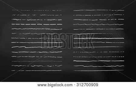 Vector Chalk Lines. Chalked Underlines Set. Border Lines, White Lines On Chalk Board Background.