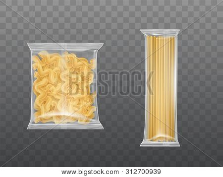 Pasta In Limpid Package Set, Dry Packaged Fusilli Macaroni Spirals And Spaghetti Isolated On Transpa