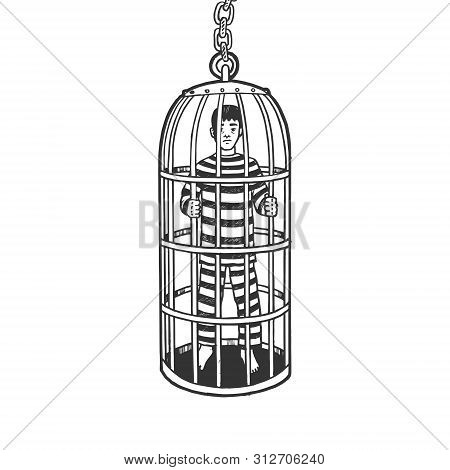 Iron Cage Medieval Torture Device Sketch Engraving Vector Illustration. Scratch Board Style Imitatio