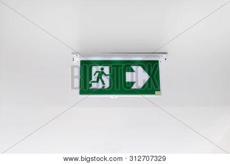 Fire Exit Sign. Emergency Fire Exit Door Exit Door On Ceiling.