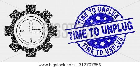 Pixelated Clock Setup Wheel Mosaic Icon And Time To Unplug Seal Stamp. Blue Vector Round Scratched S