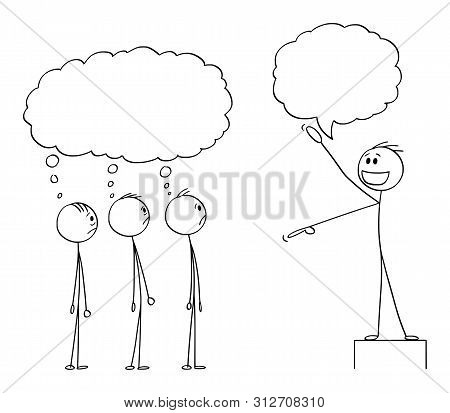 Vector Cartoon Stick Figure Drawing Conceptual Illustration Of Enthusiastic Man, Business Leader Or
