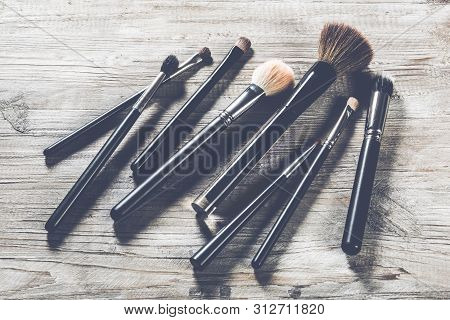 Collection Of Professional Makeup Brushes. Beauty Background