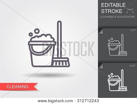 Cleaning Bucket With Mop. Line Icon With Editable Stroke With Shadow