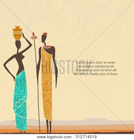 Ethnic Background With African People And Stylized African Landscape