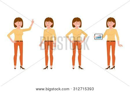 Happy, Smiling, Cute Brown Hair Young Office Woman In Orange Pants Vector Illustration. Standing Wit
