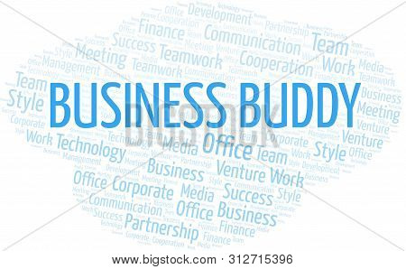 Business Buddy Word Cloud. Collage Made With Text Only.
