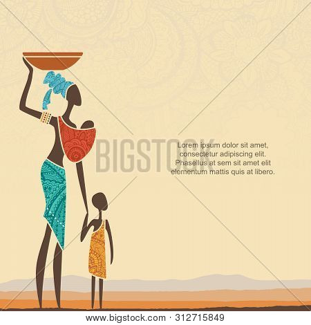 Ethnic Background With African Woman With Children And Stylized African Landscape