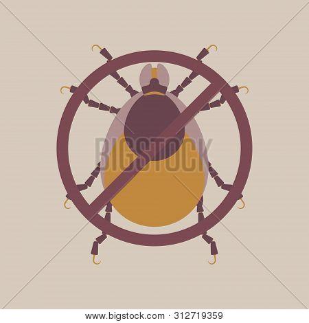 dog and deer tick, pet pest control concept, flat character design clip art vector illustration cartoon sign logo