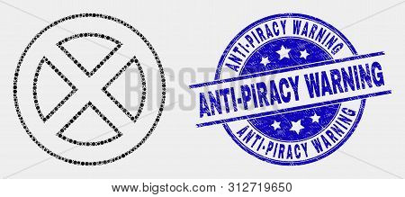 Pixel Forbidden Mosaic Pictogram And Anti-piracy Warning Seal Stamp. Blue Vector Rounded Grunge Seal