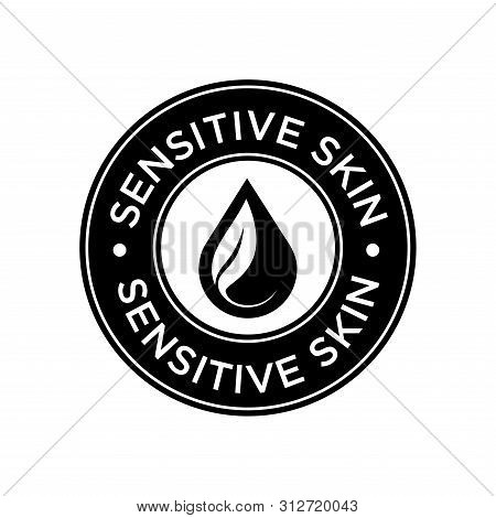 Sensitive Skin Icon. Label With Skin Type Indicator For Personal Care Products.